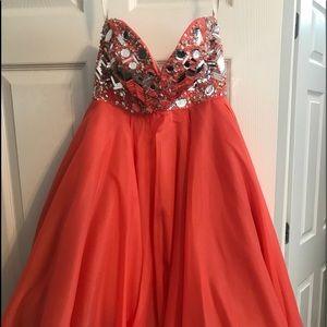 Coral short formal dress